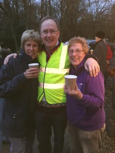 Enjoying Mulled wine at Christmas Lights Event.