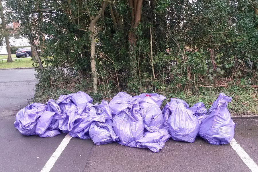 Bags of rubbish collected Chesham Bois Clean for the Queen 2016