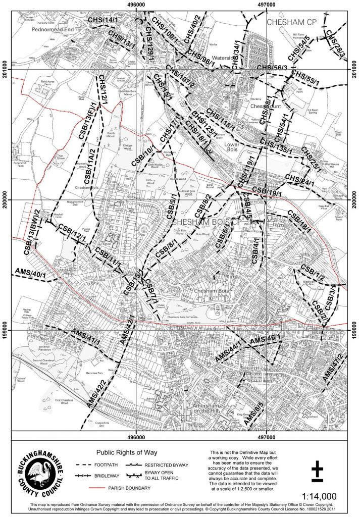 map of rights of way around chesham bois