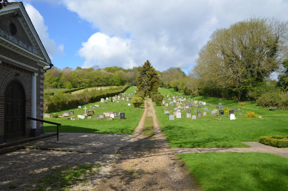 Chesham Bois Burial Ground - the chapel and formal burial ground