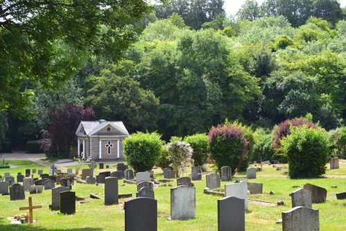 Photo of the Formal Burial Ground mid way up the hill toward the Chapel.