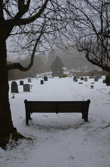 Chesham Bois Burial Ground - snow scene March 2018