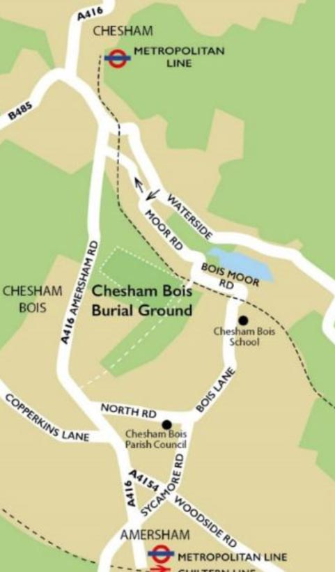 location map of chesham bois burial ground