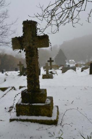 Chesham Bois Burial Ground - snow scene March 2018