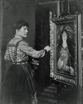 Photo of Louise Jopling painting.