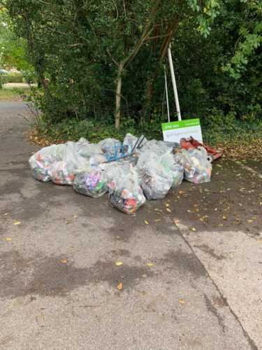 Bags of rubbish and large items collected during 10 Oct 2020 litter Pick