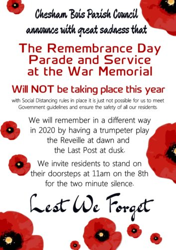 Notice that 2020 Remembrance Parade and Service has been cancelled