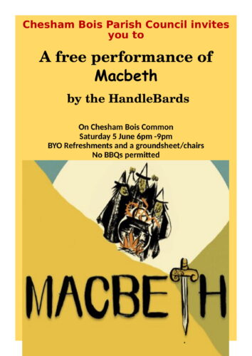 Poster for free performance of Macbeth
